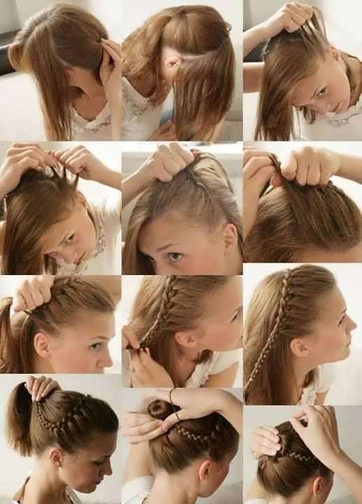 Плетение на средние волосы на себе