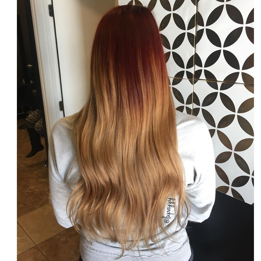 Red to a beautiful soft blonde